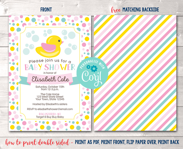 Editable Duck Pink Baby Shower Invitation Instant Download Printable PDF or JPG