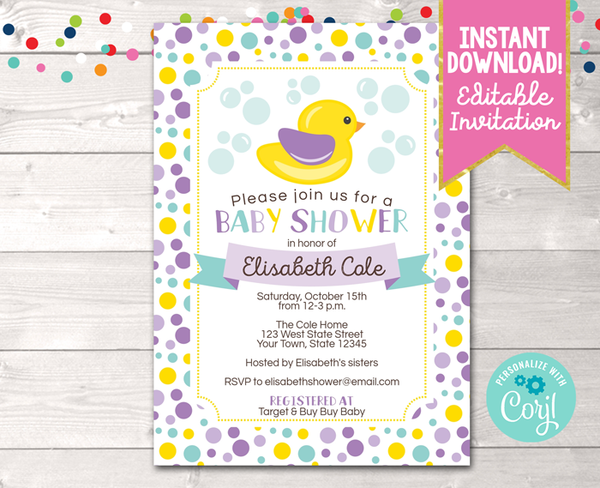 Editable Duck Purple Baby Shower Invitation Instant Download Printable PDF or JPG