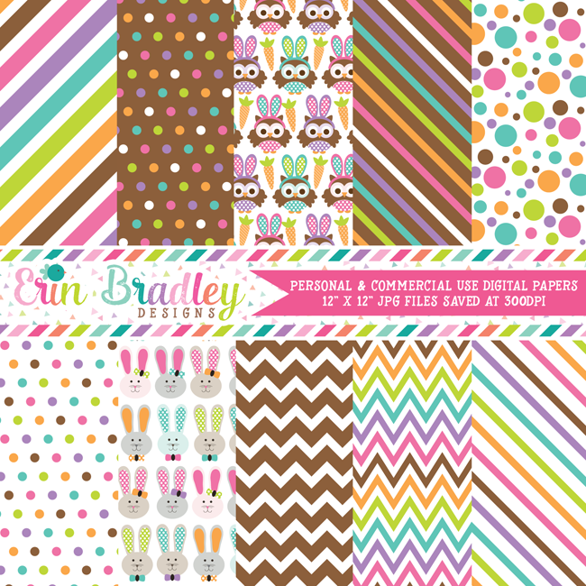 Easter Owls Digital Papers