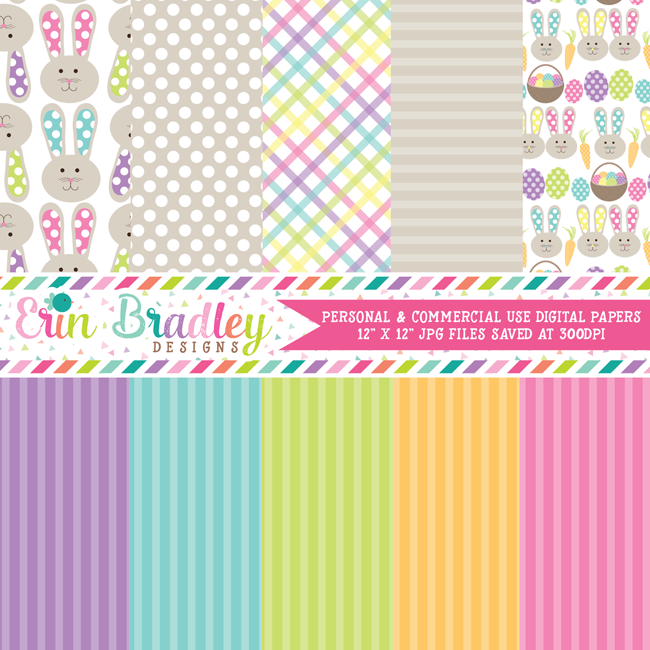 Easter Bunny Holiday Digital Paper Pack