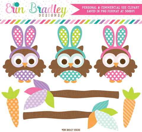 Easter Owls Clipart Commercial Use Holiday Graphics
