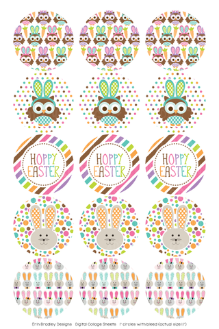 Hoppy Easter Digital Bottle Cap Images