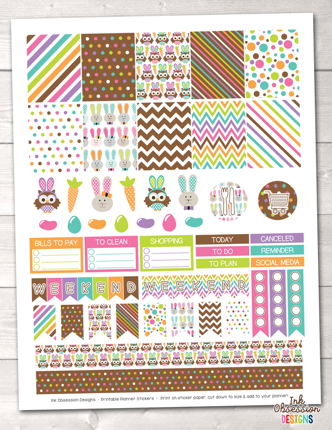 Easter Printable Planner Stickers Weekly Kit