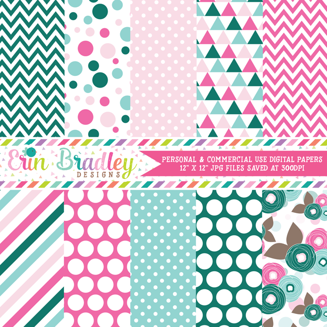 Emerald and Pink Digital Papers