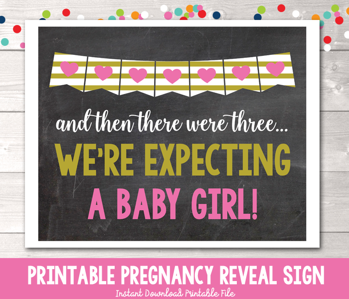 It's a Girl! Pregnancy Reveal Photo Prop Chalkboard Sign Instant Download PDF