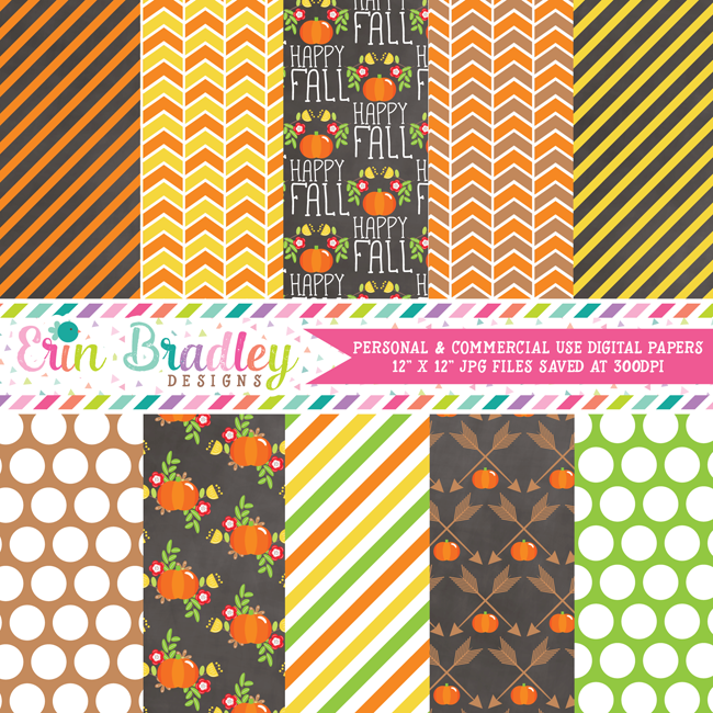 Floral Fall Elements Digital Paper Pack