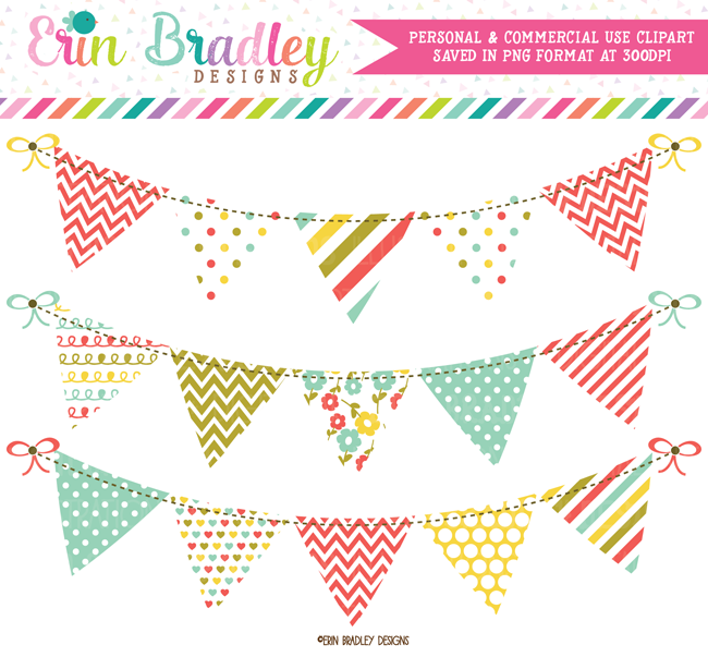 Fall Flowers Digital Clipart Bunting