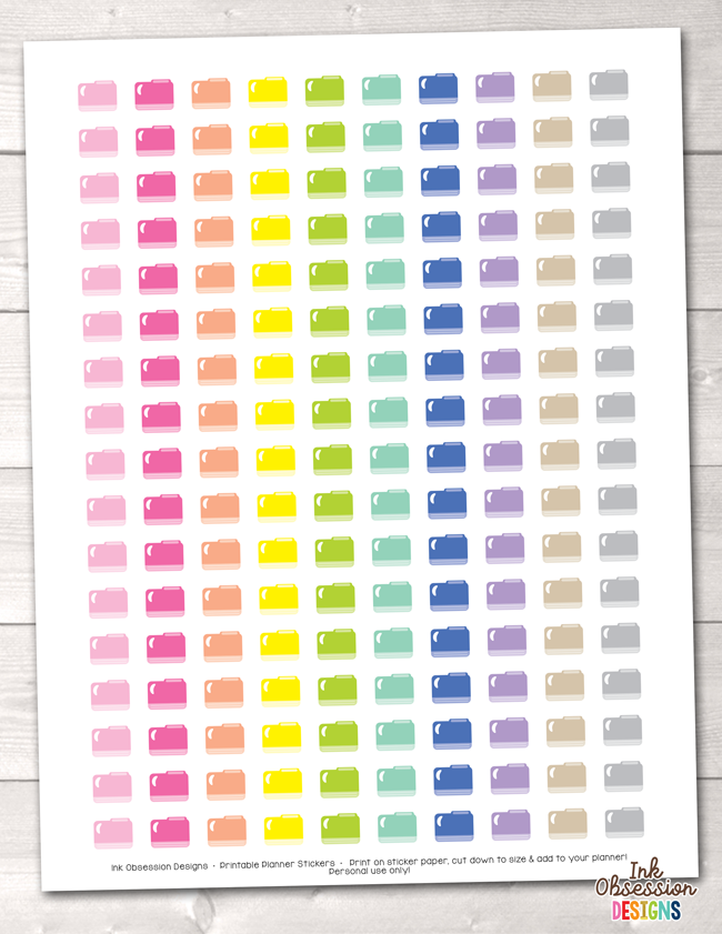 image relating to Printable Folders known as Document Folders Printable Planner Stickers