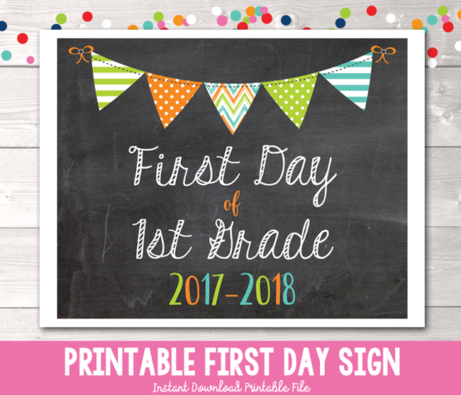 Boys First Day of 1st Grade School Sign Printable PDF