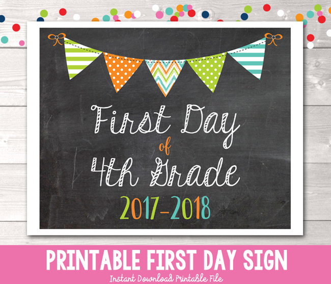 Boys First Day of 4th Grade School Sign Printable PDF