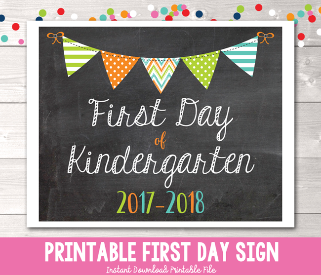 Boys First Day of Kindergarten School Sign Printable PDF