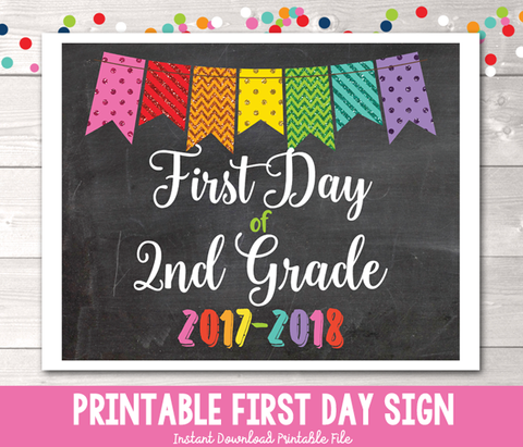 Glitter Bunting First Day of 2nd Grade Sign Printable PDF