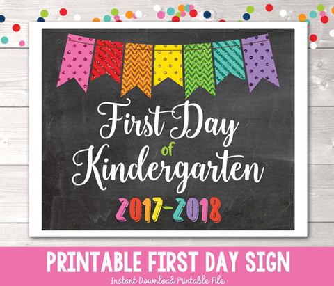 Glitter Bunting First Day of Kindergarten Sign Printable PDF