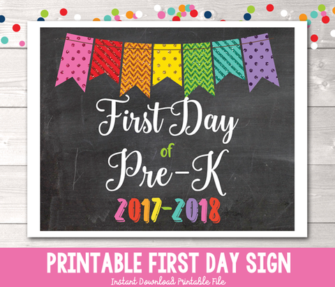 Glitter Bunting First Day of Pre-K Sign Printable PDF