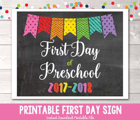 Glitter Bunting First Day of Preschool Sign Printable PDF