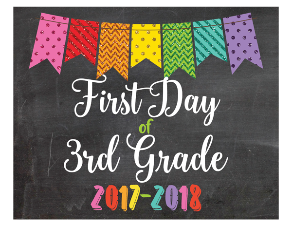 Glitter Bunting First Day of 3rd Grade Sign Printable PDF