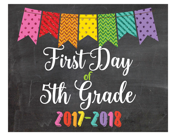 Glitter Bunting First Day of 5th Grade Sign Printable PDF