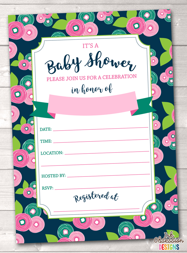 image about Printable Baby Shower Invitations referred to as Floral Bloom Kid Shower Invitation Printable PDF