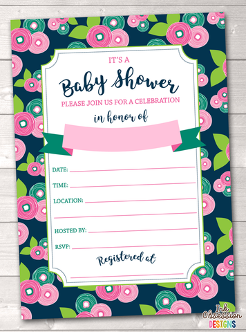 Floral Bloom Baby Shower Invitation Printable PDF