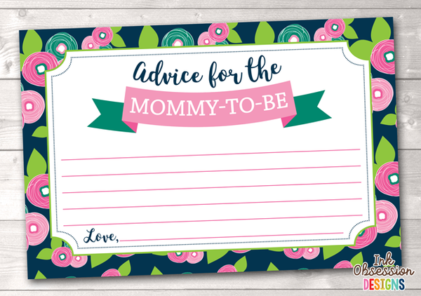 Floral Bloom Printable Mommy Advice Cards