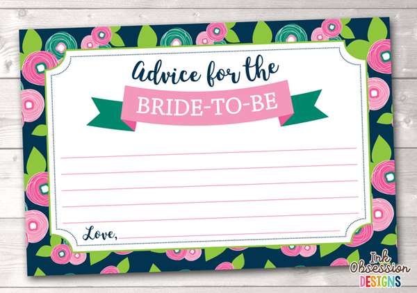 Floral Bloom Printable Advice Cards for Bride to Be