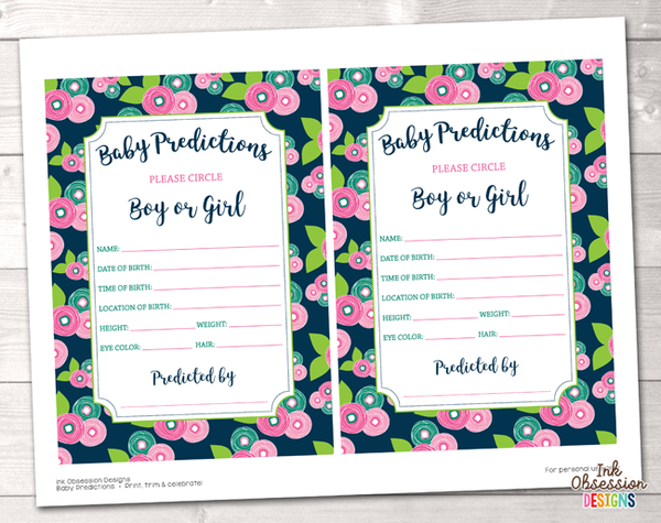 Floral Bloom Baby Predictions Cards