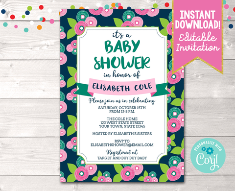 Editable Floral Bloom Baby Shower Invitation Instant Download Digital File