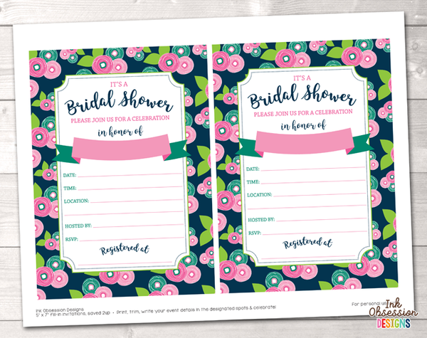 Floral Bloom Bridal Shower Invitation Printable PDF
