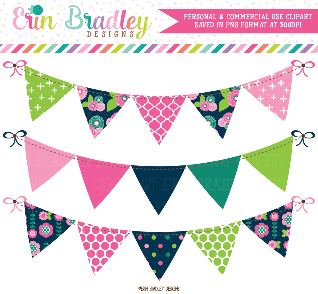 Floral Bloom Bunting Banner Flag Clipart