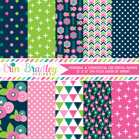 Floral Bloom Digital Paper Pack