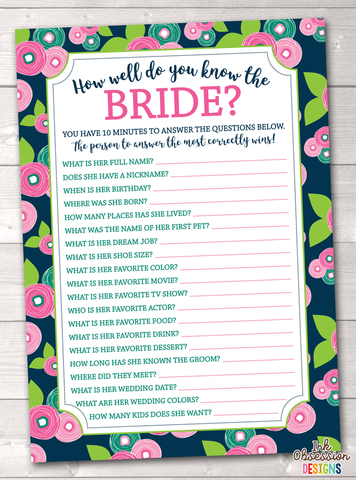 Floral Bloom How Well Do You Know the Bride Printable Bridal Shower Game