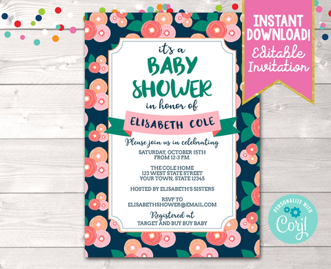 Editable Floral Bloom Peach Baby Shower Invitation Instant Download Digital File