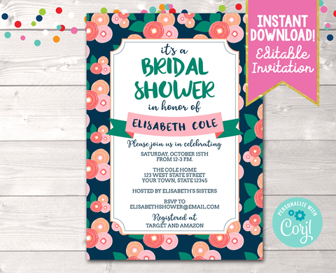 Editable Floral Bloom Peach Bridal Shower Invitation Instant Download Digital File