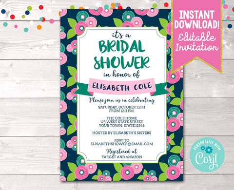 Editable Floral Bloom Bridal Shower Invitation Instant Download Digital File