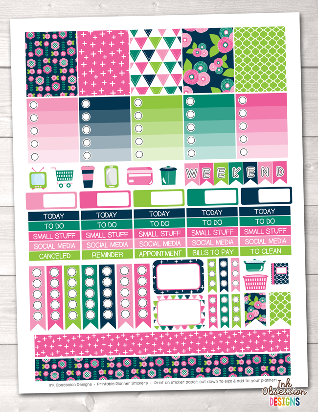 Floral Bloom Printable Planner Stickers Weekly Kit