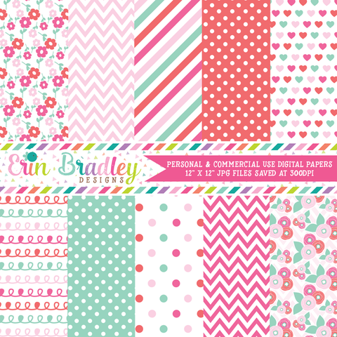 Floral Digital Paper Pack