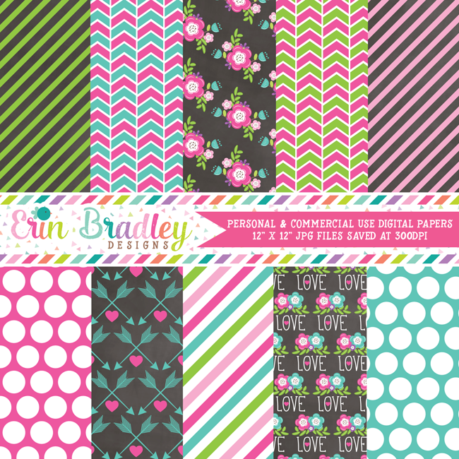 Floral Pink Blue Elements Digital Paper Pack