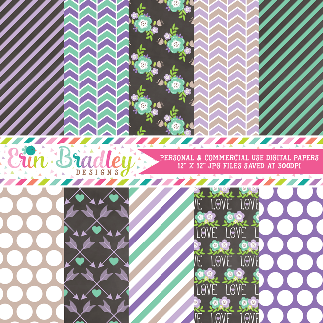 Purple and Blue Floral Digital Paper Pack