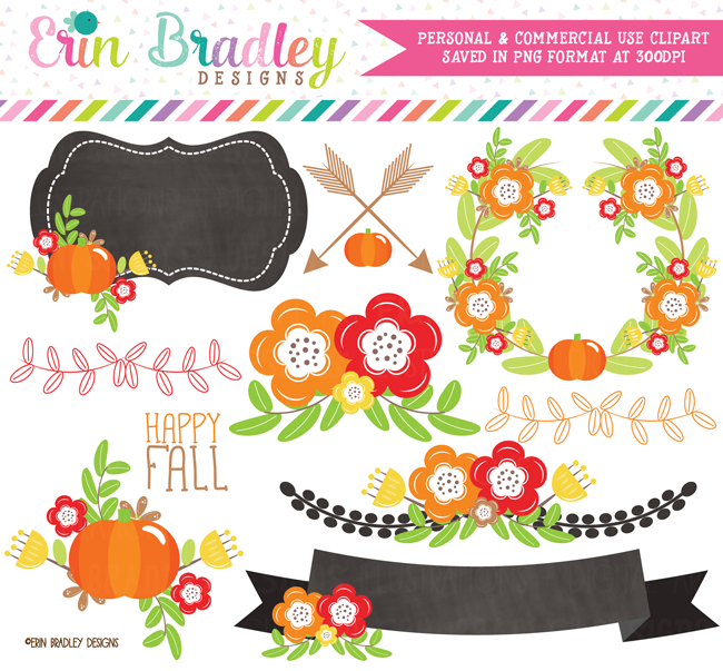 Floral Fall Clipart Elements Commercial Use Graphics