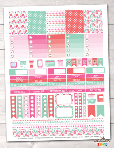 Floral Pink and Blue Printable Planner Stickers