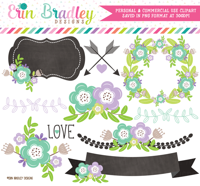 Floral Elements Clipart Purple and Blue