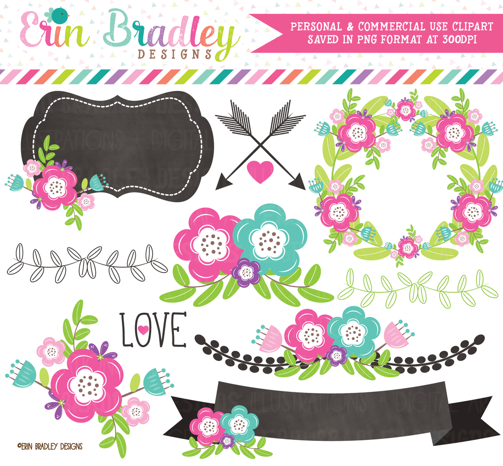 Floral Elements Clipart Pink and Blue