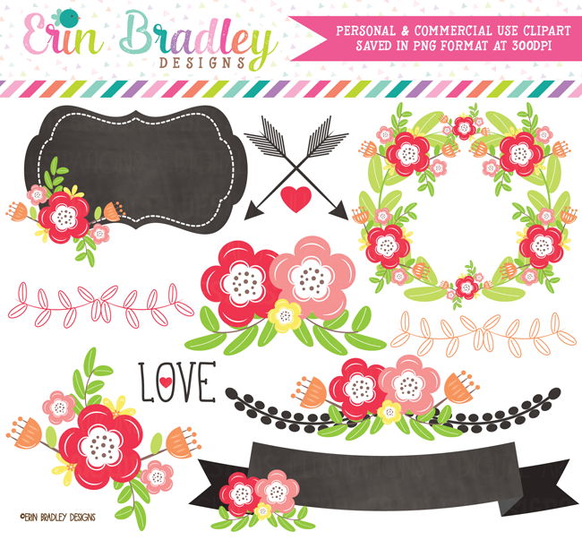 Floral Elements Clipart Pink