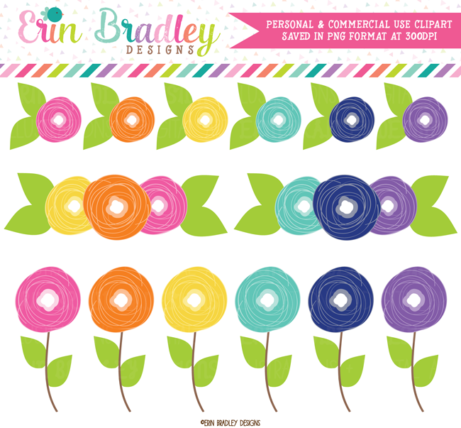 Flower Doodles Colorful Clipart