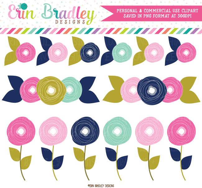 Flower Doodles Clipart in Pink and Blue