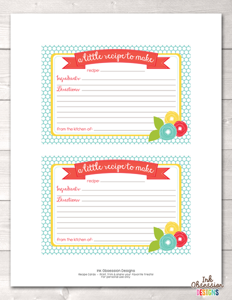 Floral Doodles Printable Recipe Cards
