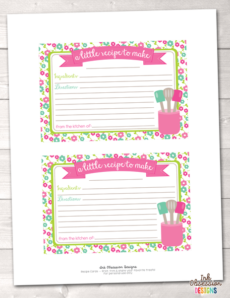 Floral Pink and Blue Printable Recipe Cards