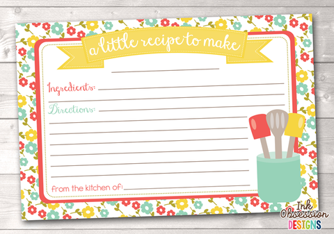 Floral Printable Recipe Cards