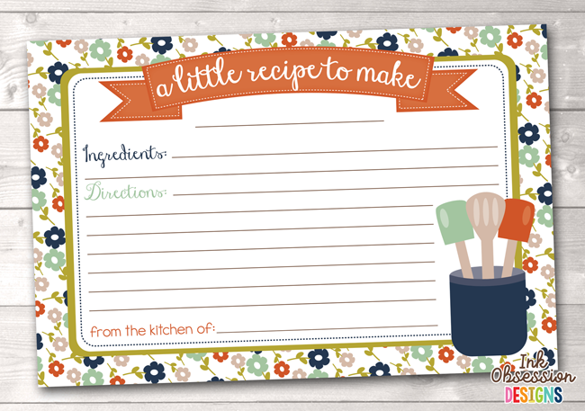 Floral Printable Recipe Cards in Rust and Blue