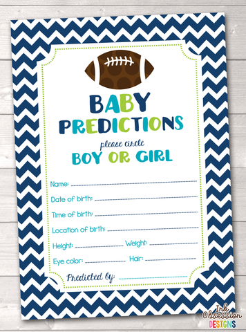 Boys Football Baby Predictions Cards